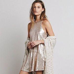 gold sequin free people slip dress